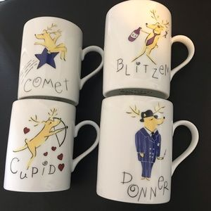 Pottery Barn Reindeer coffee mug Set of 4